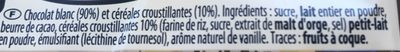Nestle Crunch Blanc Tablettes 2X100G - Ingredients