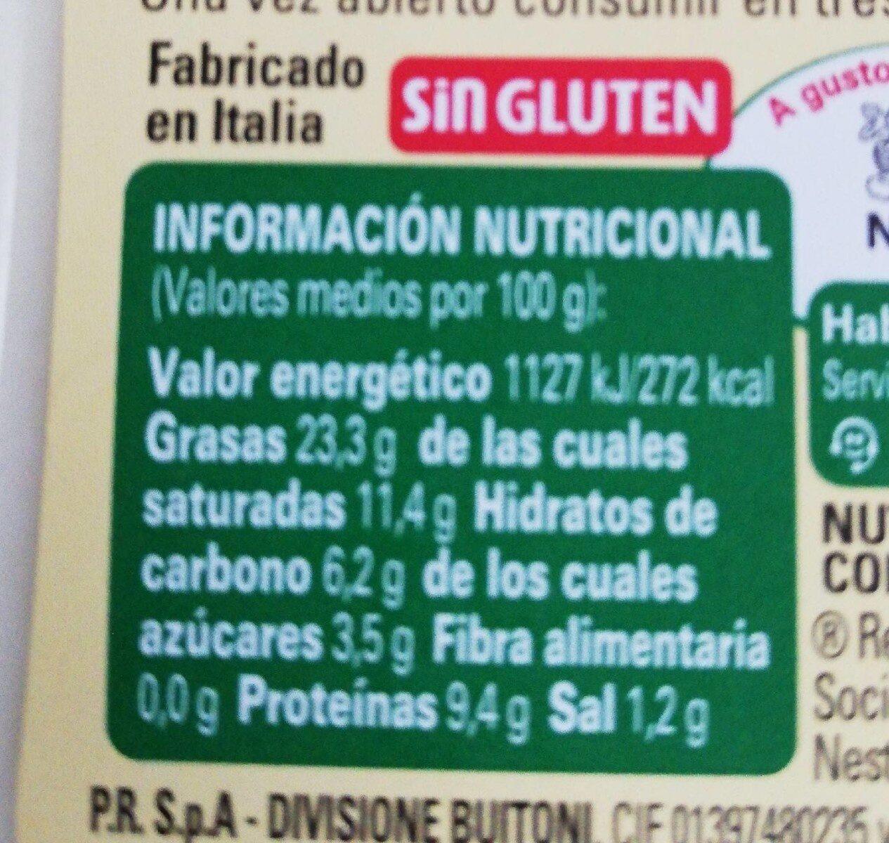 Salsa 4Fornaggi - Informació nutricional