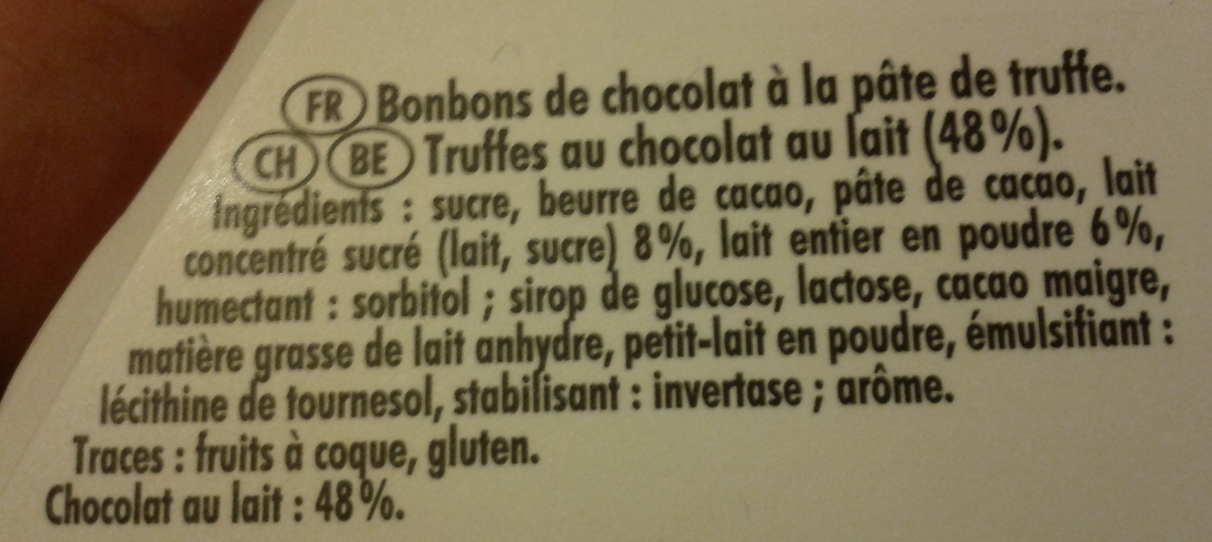 La Truffe LAIT Fondant ultime - Ingrediënten