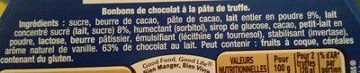 Truffes coeur fondant au chocolat au lait - Ingredients