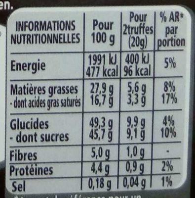 Truffes Noir éclats de caramel pointe de sel - Valori nutrizionali - fr
