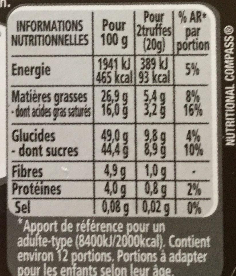 Truffes orange confite noir - Voedingswaarden - fr