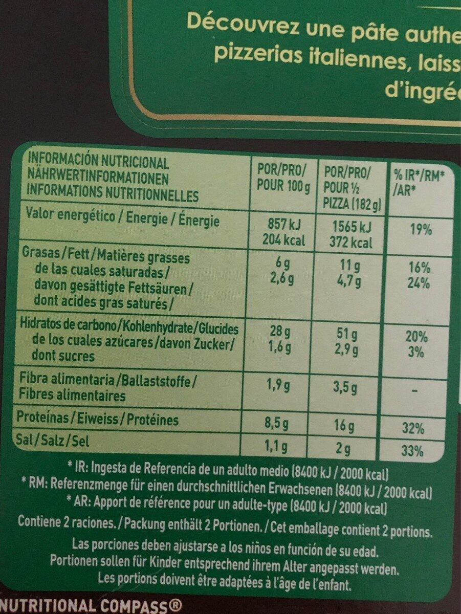 Pizza - Nutrition facts - fr