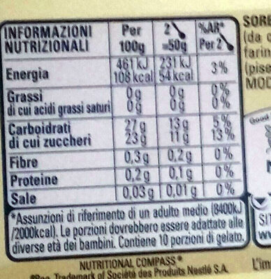 Sorbetto al limone - Nutrition facts