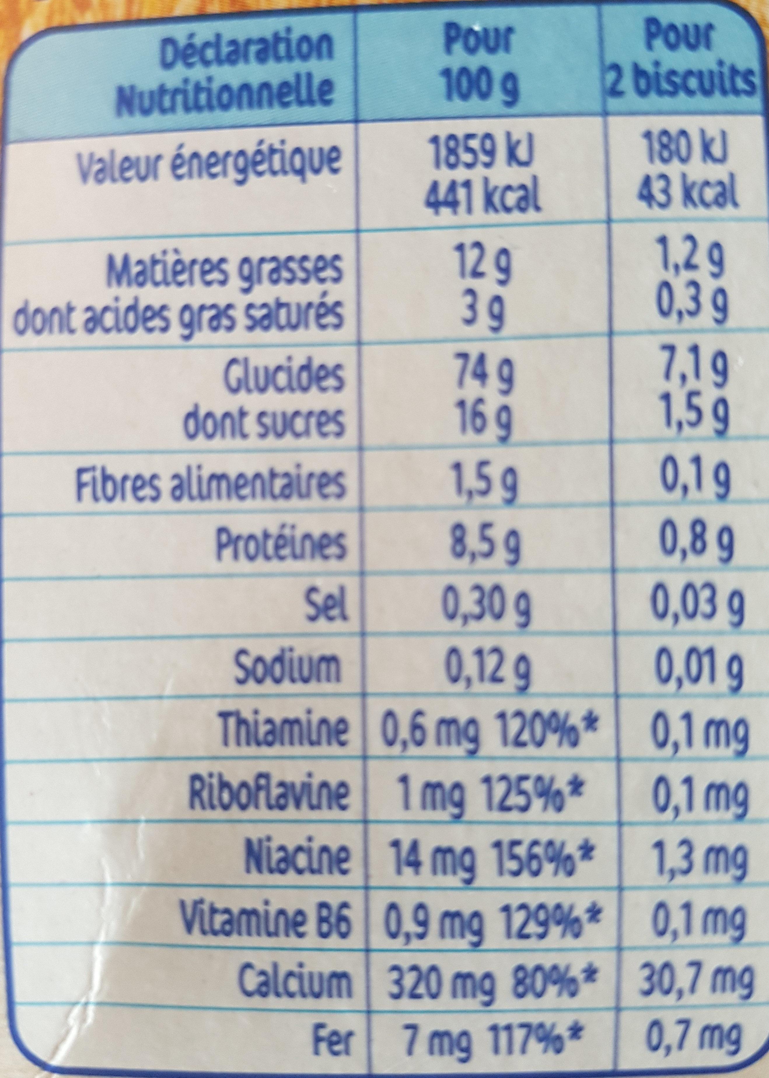 Nestle p'tit biscuit - Nutrition facts