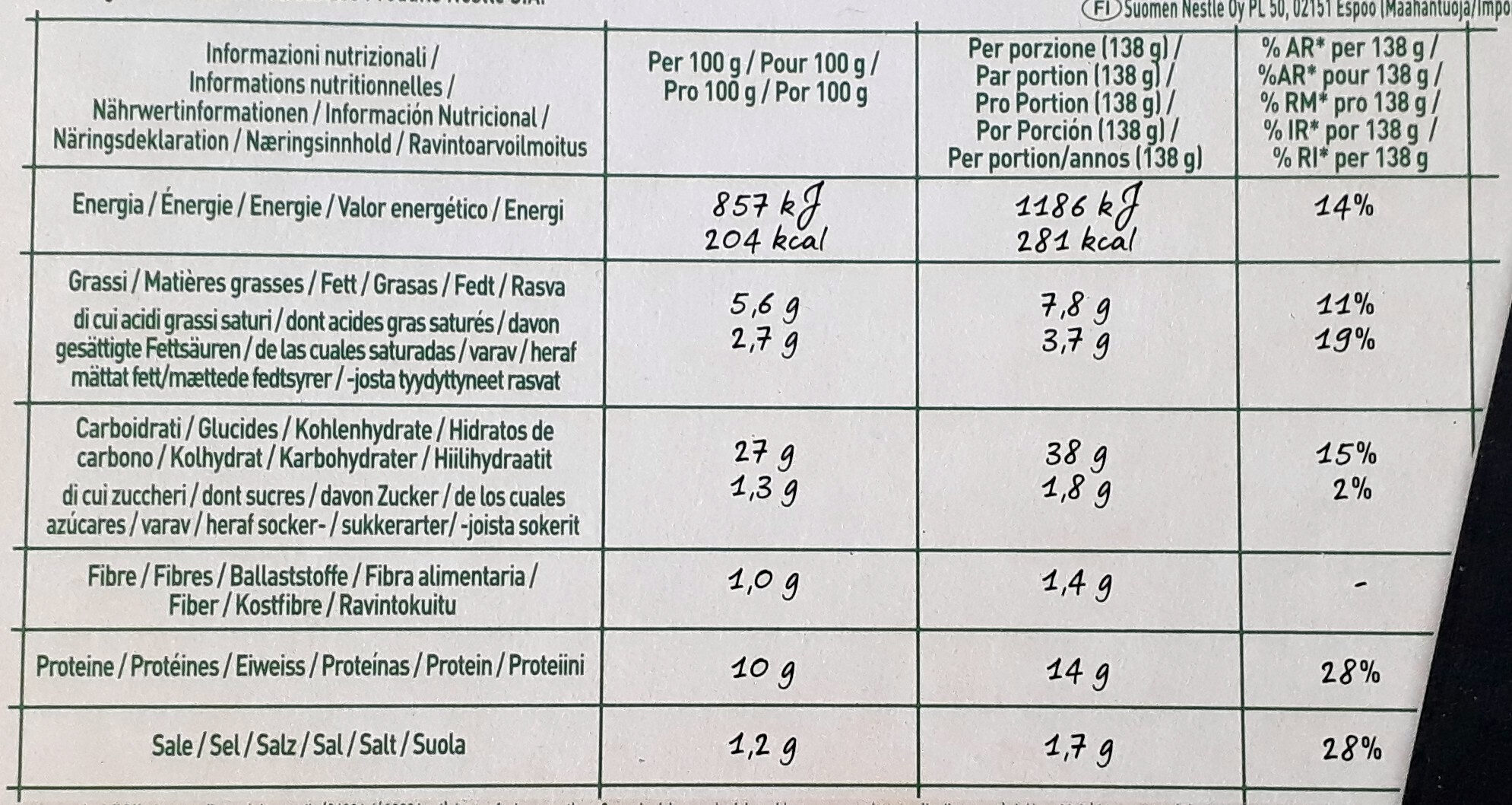 Bella Napoli prosciutto & funghi - Informations nutritionnelles - fr