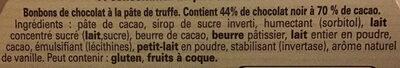 Truffes noir à 70% - Ingrédients - fr