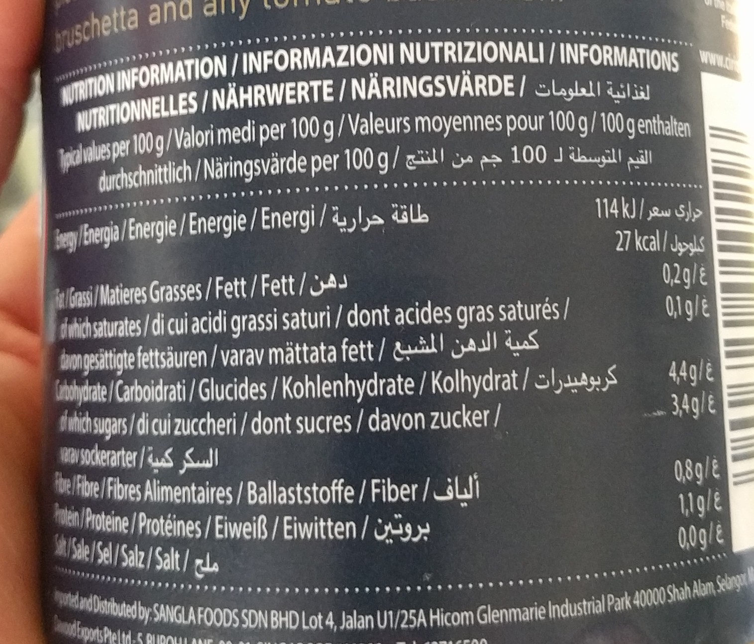 Pulpe en dés - Nutrition facts