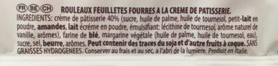 Rouleaux Feuillet?s Fourr?s ? La Cr?me P?tissi?re - Ingrédients