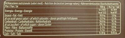 Grisbi Wild pregiata vaniglia Bourbon & dark choco - Nutrition facts - it