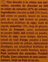Gran Pasticceria Crème Noisette - 100G - Ingredients