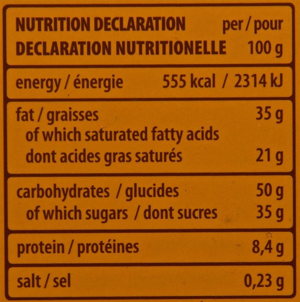 Gran Pasticceria Crème Noisette - 100G - Nährwertangaben