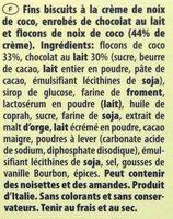 Patisserie Coconut - Ingredients - fr