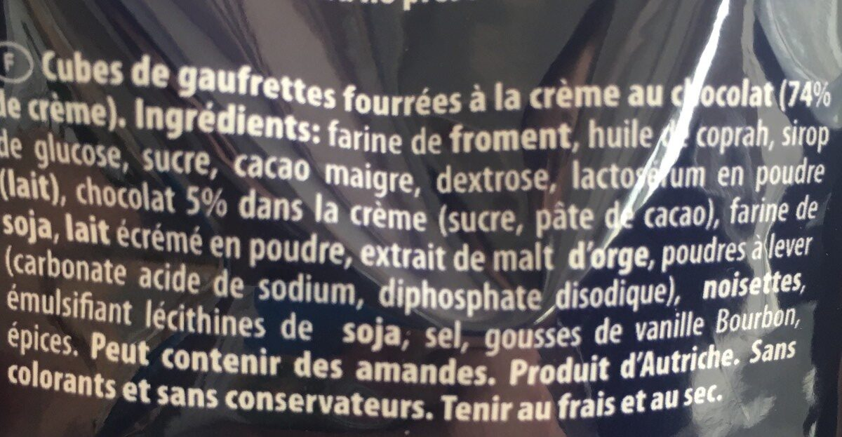 Loacker Wafers Quadratini Chocolate - Ingrédients - fr