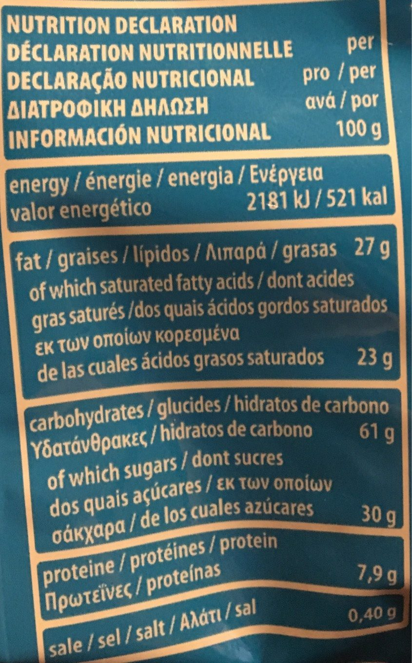Quadratini Vanille 125G - Nutrition facts - fr