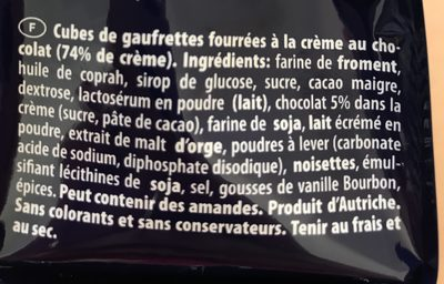 Quadratini chocolat 125G - Ingrédients - fr