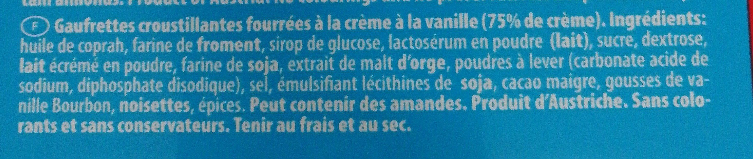 Gaufrettes A La Vanille - Ingrédients - fr