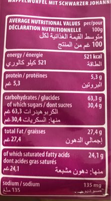 Loacker Blackcurrant Wafer - Nutrition facts