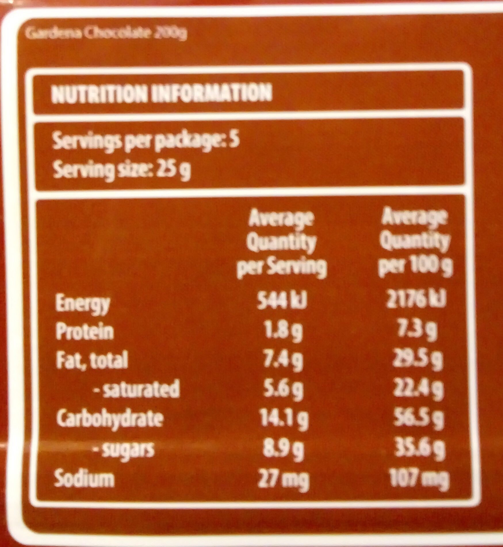 Loacker Gardena Chocolate Wafers - Informations nutritionnelles - fr