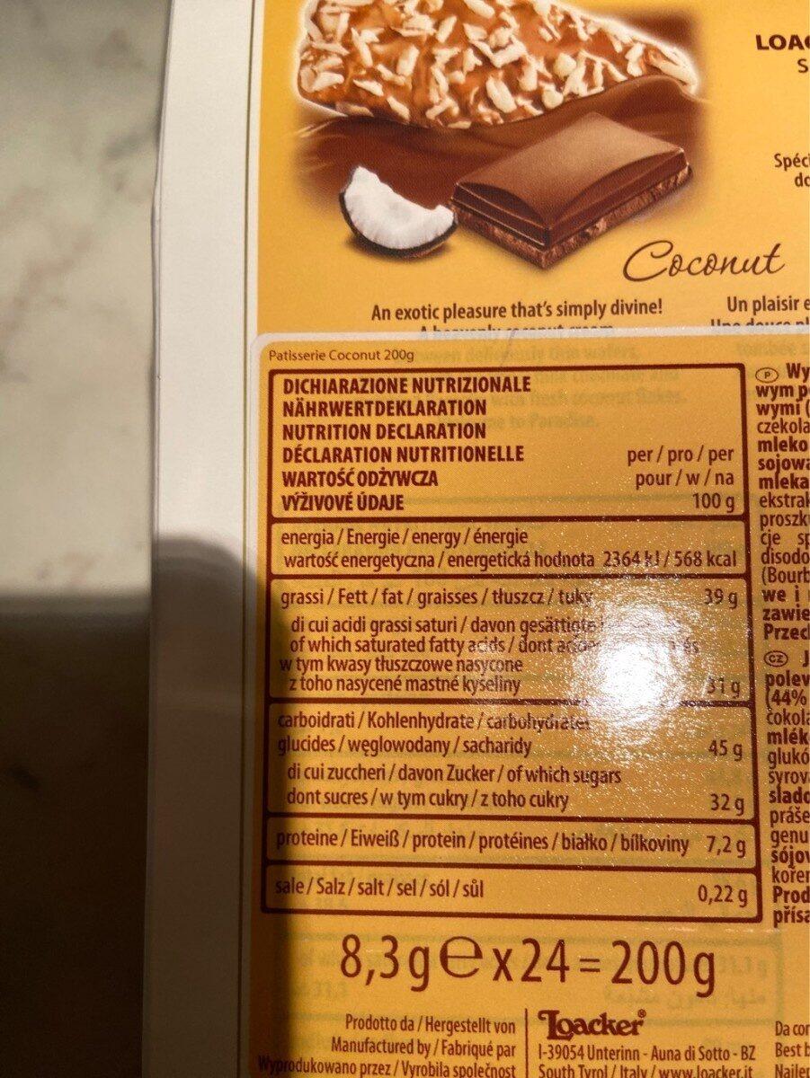 coconut - Informations nutritionnelles - fr