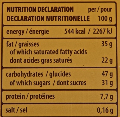 Pâtisserie Dark Hazelnut - Nutrition facts - en