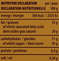 Tortina White - Informations nutritionnelles - fr