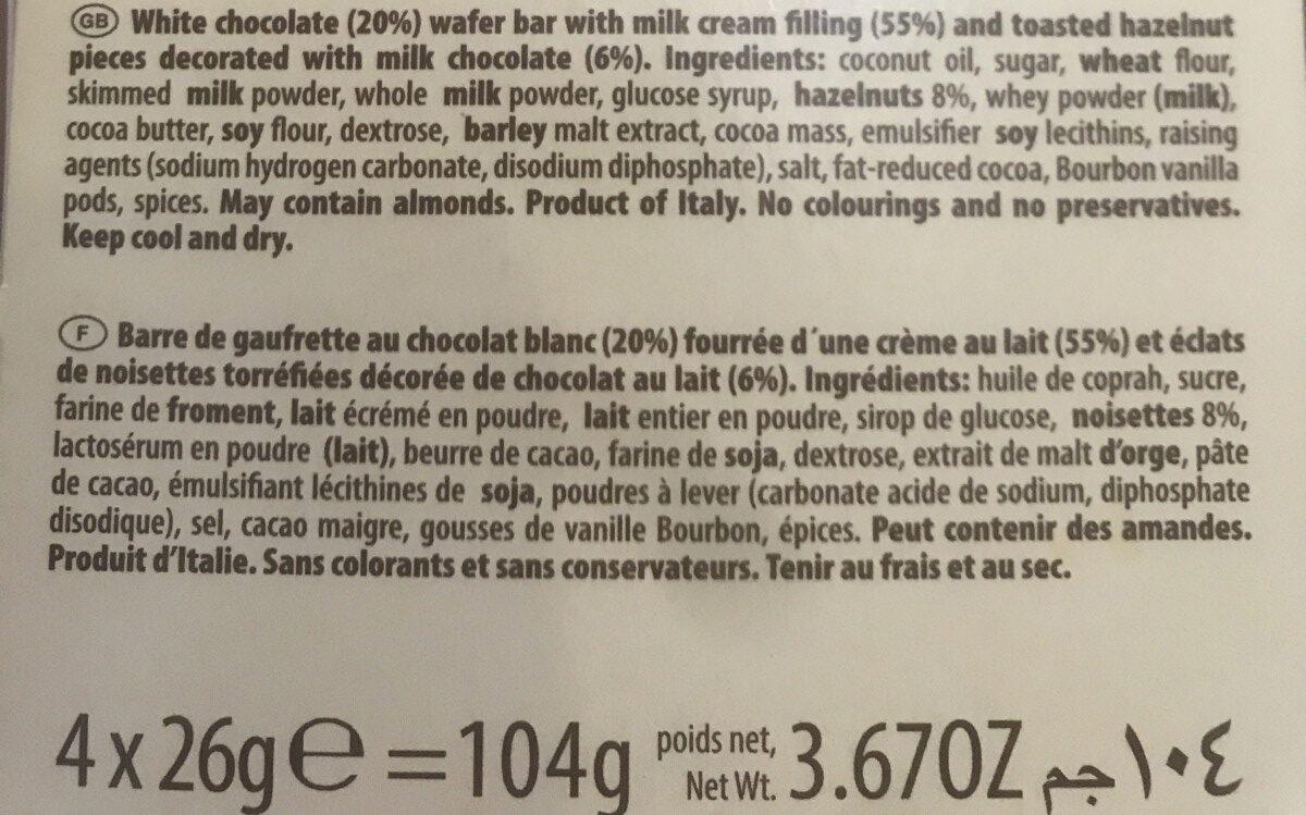 Loacker choco et white - Ingrédients - fr