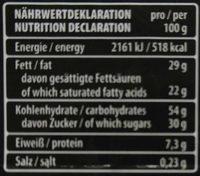 Chocolat Dark Noir - Informations nutritionnelles