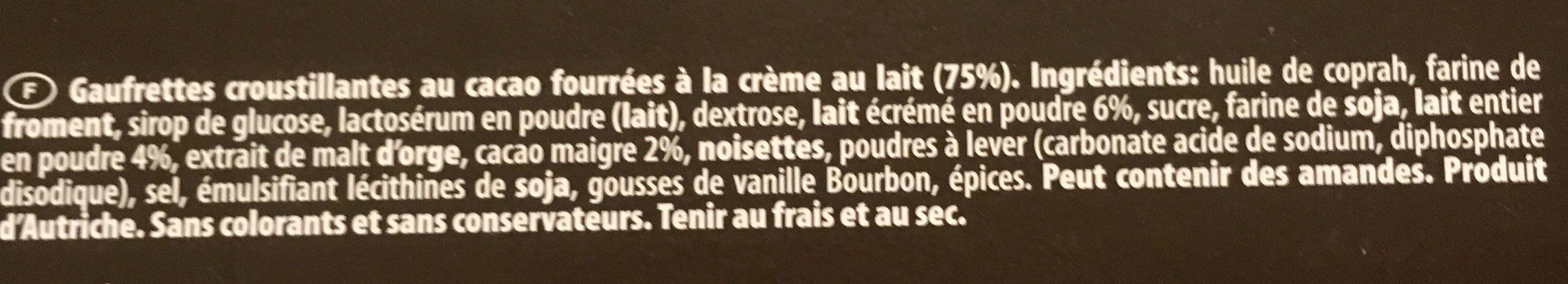 Loacker cocoa milk - Ingrédients - fr