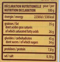 Pâtisserie Tortina Triple Dark - Nutrition facts - fr