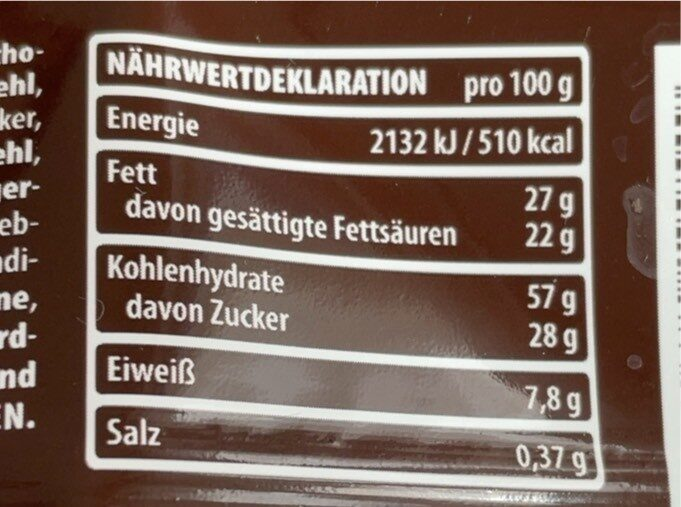 Double choc - Valori nutrizionali - de