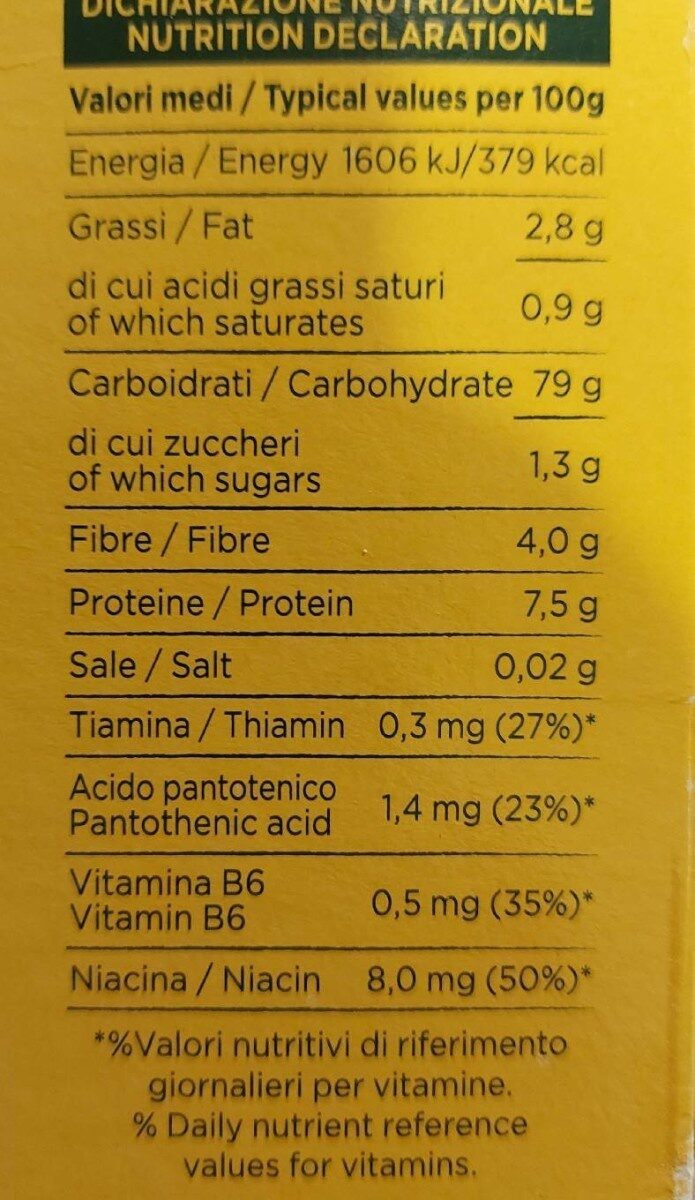 Riso Integrale - Valori nutrizionali - it
