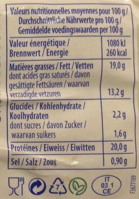 Mozzarella Cuisine - Informations nutritionnelles