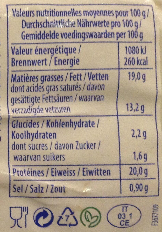 Mozzarella - Voedingswaarden - fr