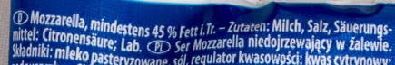 Mozzarella - Ingredientes - de