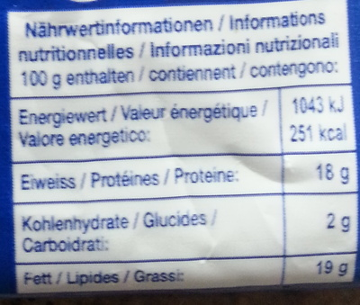 Mozzarella - Valori nutrizionali - fr