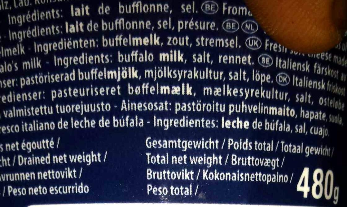 Mozzarella Di latte Di bufala - Ingrédients - fr