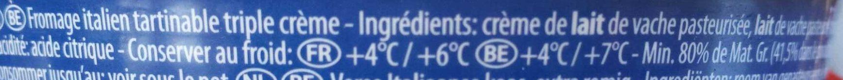 Mascarpone - Ingredients - fr