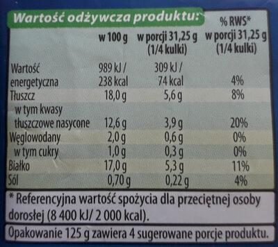 Mozzarella - Nutrition facts - pl