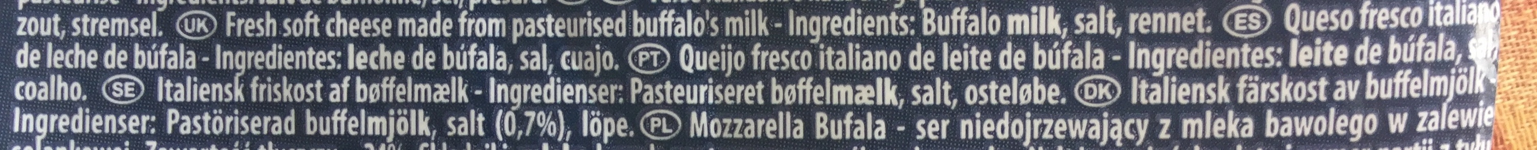 Mozzarella di Latte di Bufala - Ingredientes - pt