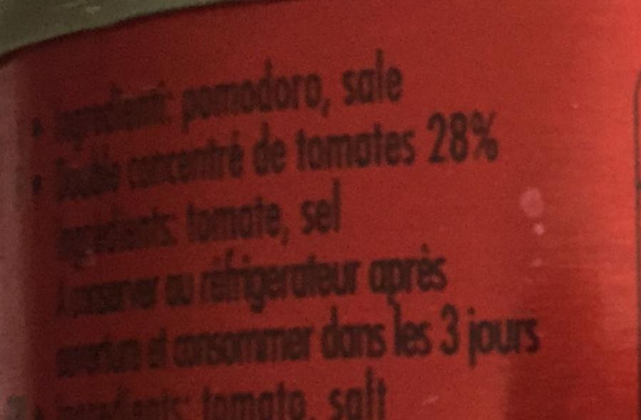 Double concentré de tomates 28% - Ingrédients - fr