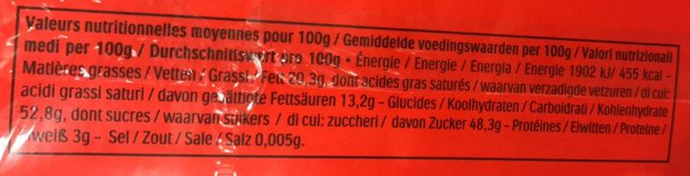 Mon cheri cerise bonbons de chocolat noir fourres cerise et liqueur boite de 35 bouchees - Valori nutrizionali - fr