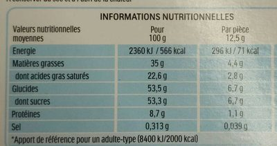 Kinder chocolat t24 mezzo metro demi metre - Informazioni nutrizionali - fr