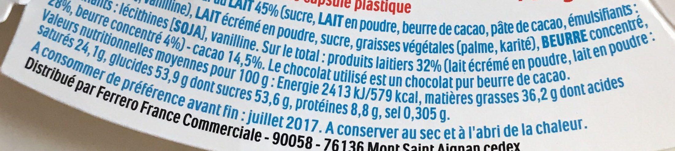 Pâques Maxi Kinder Surprise garçon œuf chocolat - Voedingswaarden - fr