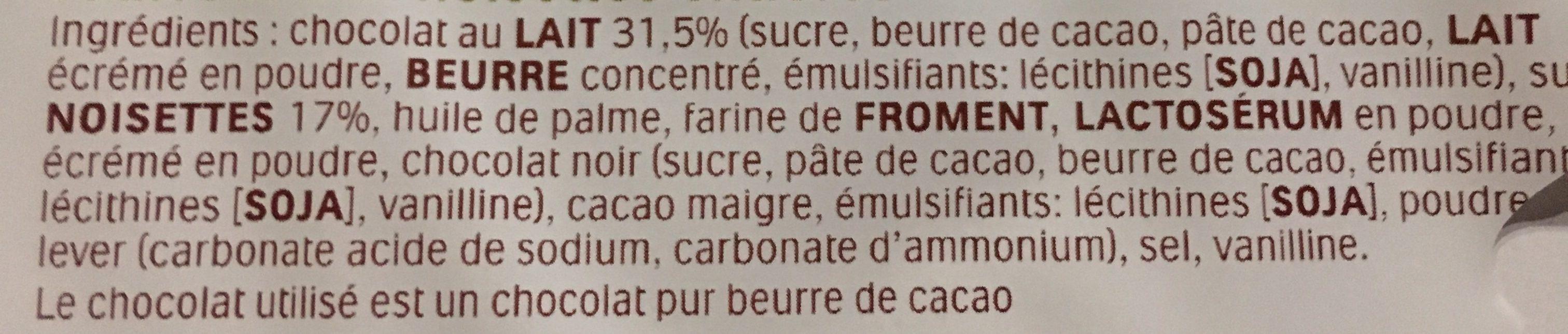 Duplo gaufrettes enrobees de chocolat fourrees noisettes entieres 5 pieces - Ingredienti - fr