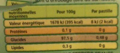 Tic tac menthe t4 t(33x4) pack de 4 etuis - Informations nutritionnelles - fr