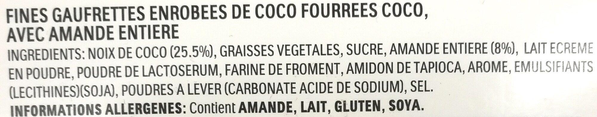 Fines gaufrettes enrobées de coco fourrées coco avec amande entière - Ingredients - fr