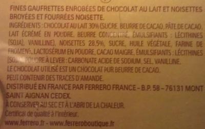 Ferrero Rocher - Fines gaufrettes enrobées de chocolat - Ingredienti - fr