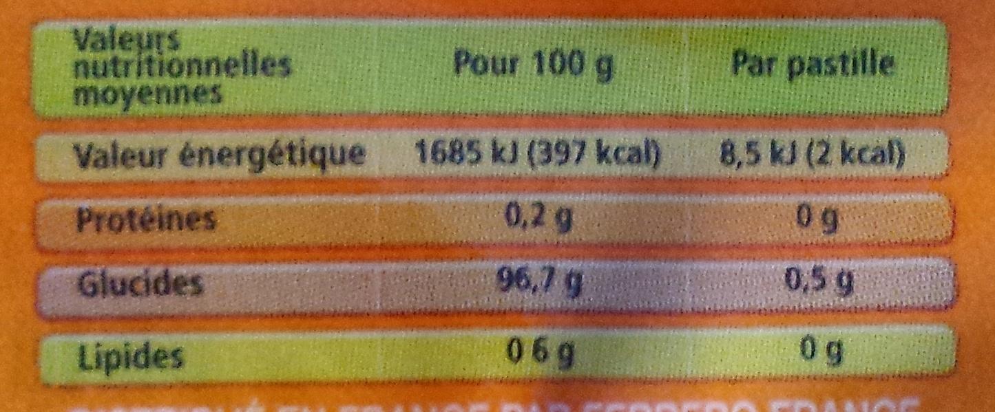Tic Tac orange - Valori nutrizionali - fr