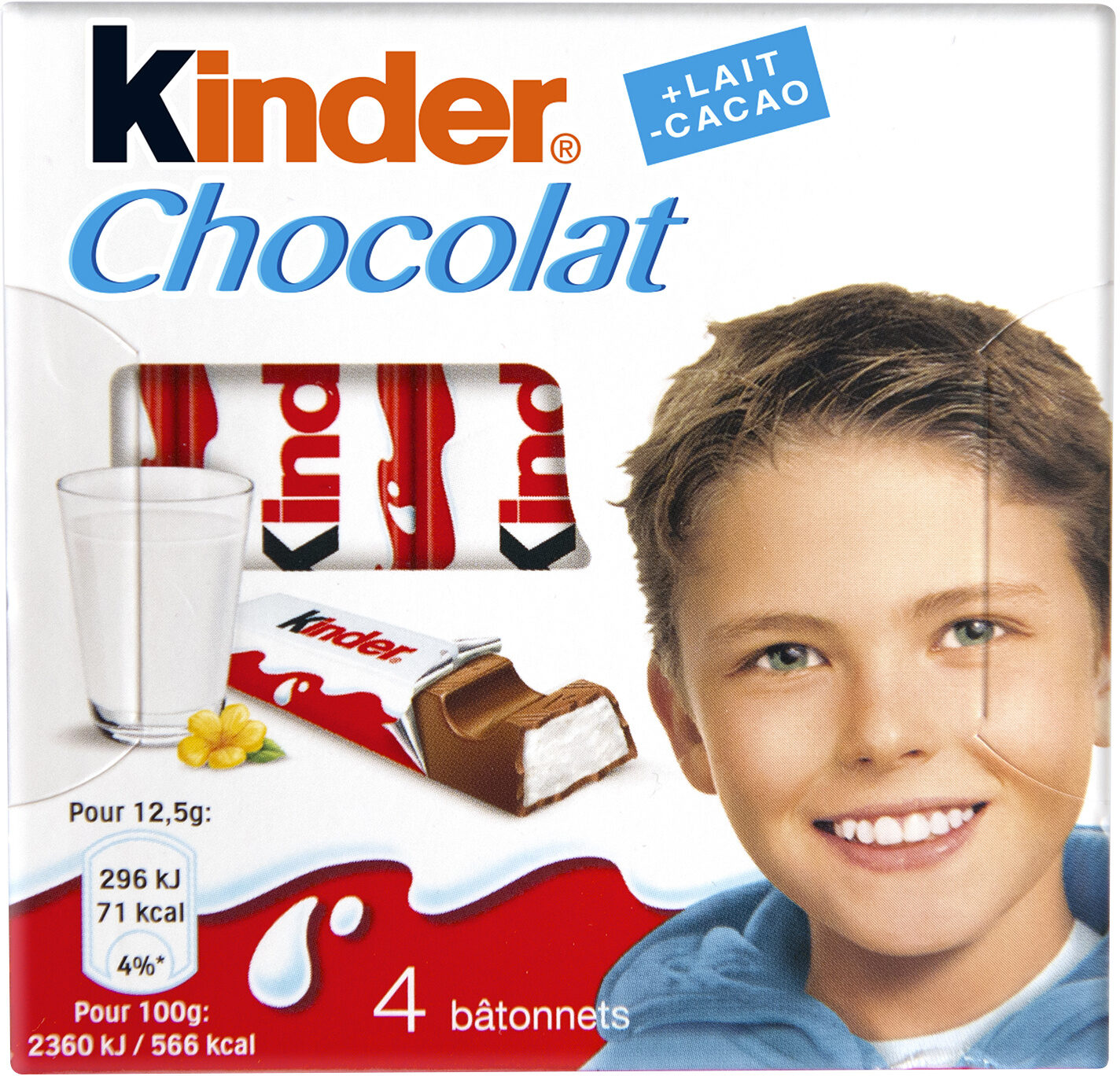 Kinder chocolat - chocolat au lait avec fourrage au lait 4 barres - Produit - fr